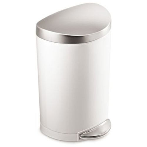 simplehuman Stainless Steel Semi-Round 10-Liter Step-On Trash Can in White