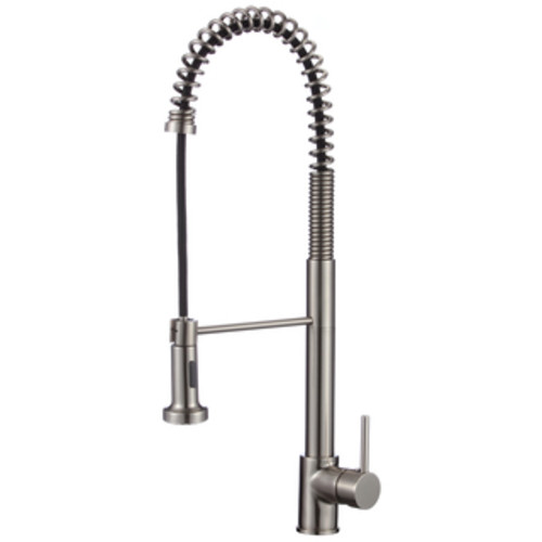 Lead-free Brushed Nickel 16-inch High Arch Single-handle Pull-down Sprayer Kitchen Faucet with Soap