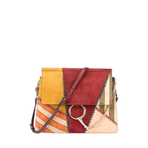 Faye Medium Colorblock Patchwork Shoulder Bag