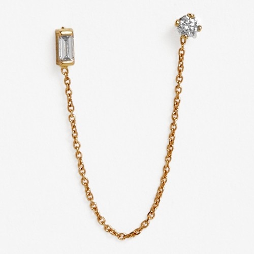 Sweet Pea Gold & Diamond Single Stud Chain Earring