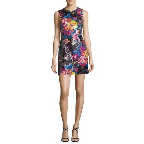DIANE VON FURSTENBERG Floral Sequin Sleeveless Mini Dress, Black