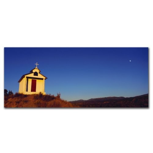 Church with Moon by Preston, 14x32-Inch Canvas Wall Art [14x32-Inch]
