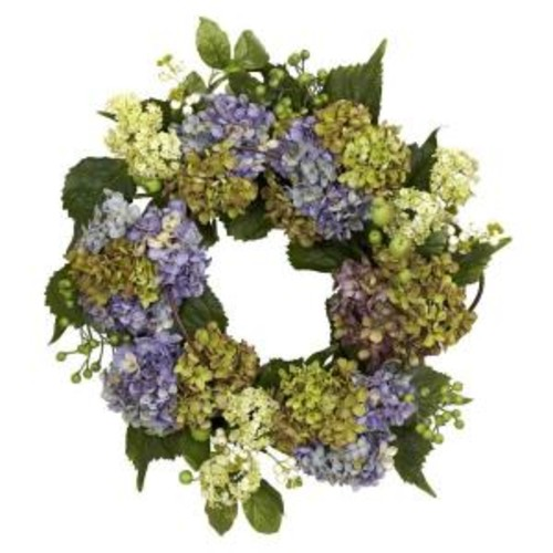 Nearly Natural 22.0 in. H Pastel Hydrangea Wreath