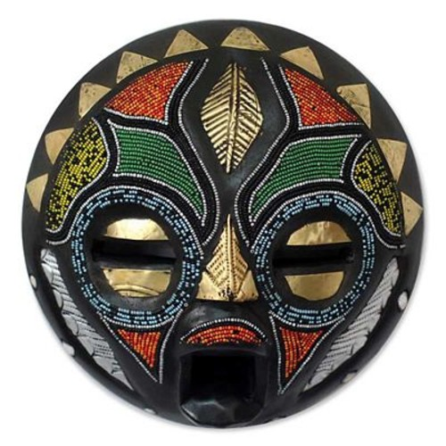 Novica Abdul Aziz Mohamadu Girl Grows Up Hand Beaded African Wood Mask Wall Decor