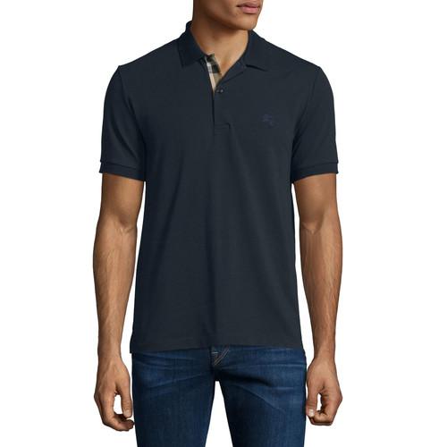 BURBERRY BRIT Short-Sleeve Oxford Polo Shirt, Dark Navy