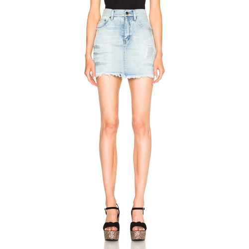 SAINT LAURENT Repaired Denim Mini Skirt