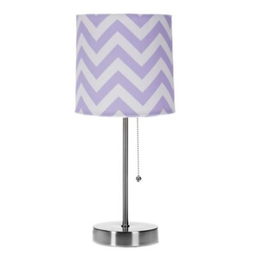Glenna Jean Swizzle Chevron Mod Lamp Base with Shade in Purple/White
