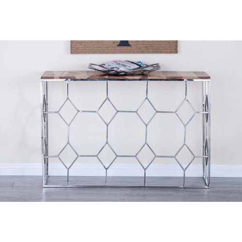 Modern Stainless Steel and Brown Wood Nesting Console Tables (Set of 2)