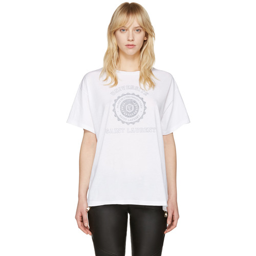 SAINT LAURENT White University Logo T-Shirt