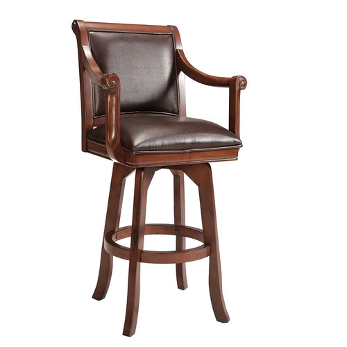 Hillsdale Furniture Palm Springs 30 in. Medium Brown Cherry Swivel Cushioned Bar Stool