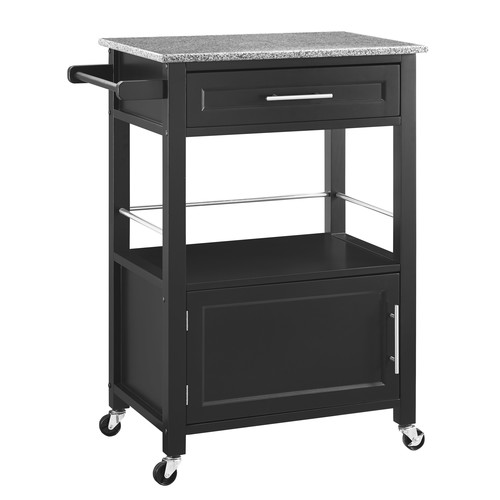 Linon Mitchell Black Kitchen Cart with Granite Top