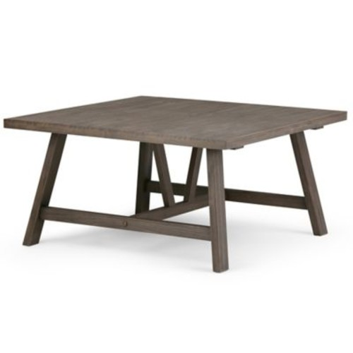 Simpli Home Dylan Square Coffee Table with Driftwood Finish