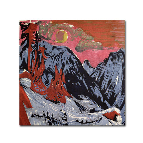 Trademark Global Ernst Kirchner 'Mountains In Winter' Canvas Art [Overall Dimensions : 14x14]
