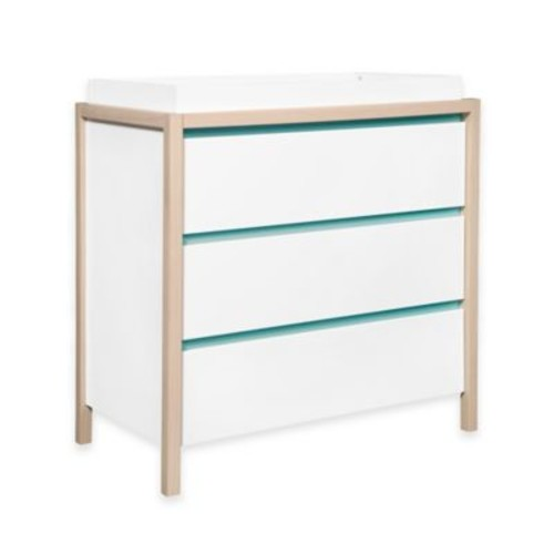Babyletto Bingo 3-Drawer Changer Dresser in White/Washed Natural with Cool Mint