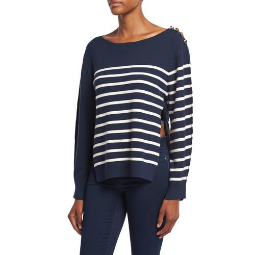 3.1 PHILLIP LIM Sailor Stripe Pullover Sweater W/ Silk Back, Navy