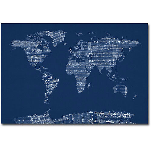 Trademark Fine Art Michael Tompsett 'Sheet Music World Map in Blue' Canvas Art