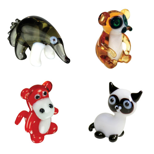 Brainstorm Products Looking Glass Miniature 4-Pack AntEater Lemur Baboon SiameseCat