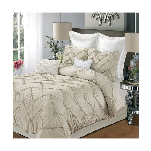 Isabella Champagne King 5 Piece Comforter Bed In A Bag Set