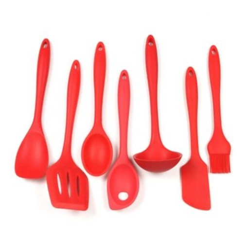 Chef Craft 7 Piece Silicone Kitchen Utensil Set; Red