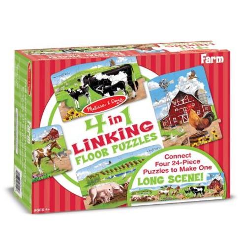 Melissa & Doug Farm 4-in-1 Jumbo Linking Jigsaw Floor Puzzle (96 pcs, 5 feet long)