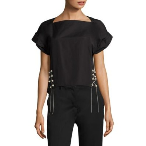 3.1 PHILLIP LIM Pearly Lace-Up Cotton Poplin Top