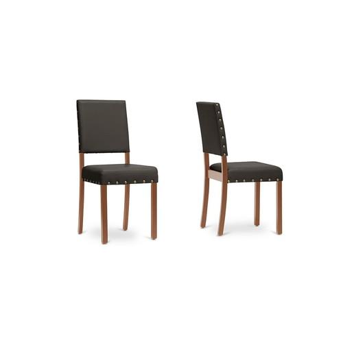 Baxton Studios Walter Dark Brown Modern Set of Dining Chairs
