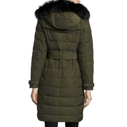 BURBERRY BRIT Allerdale Double-Breasted Puffer Coat With Fur
