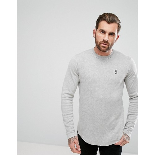 Religion Longline Knitted Sweater With Curved Hem