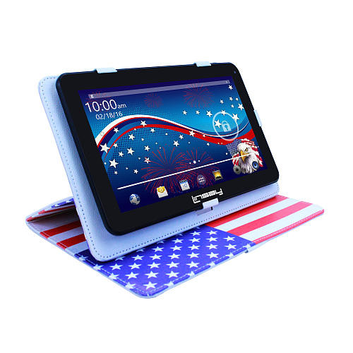 LINSAY 10.1 inch Quad Core Tablet - USA Style Leather Case