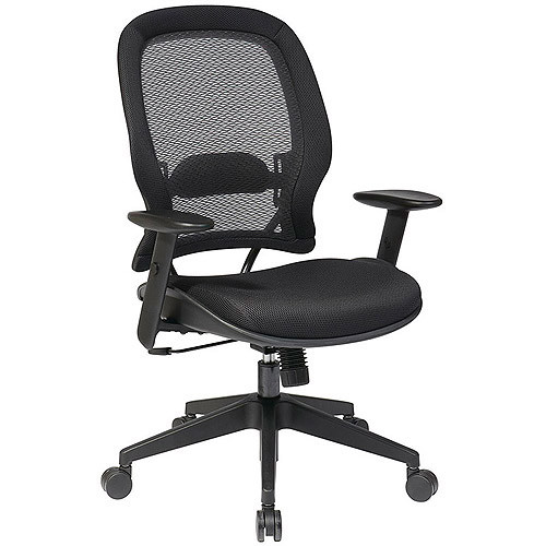 SPACE Seating Professional AirGrid Back and Mesh Seat, 2-to-1 Synchro, Adjustable Arms and Tilt Tension Task Chair, Dark Grey [Manager]