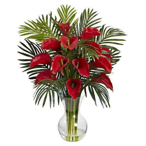 nearly natural Artificial Calla Lily & Palm Arrangement