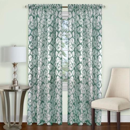 Achim Batik Sage Polyester Rod Pocket Curtain - 52 in. W x 63 in. L