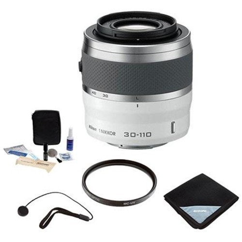 Nikon 1 NIKKOR 30-110mm f/3.8-5.6 VR Lens - White with Basic Accessory Bundle 3319 WA