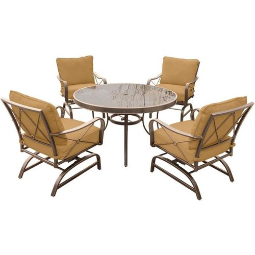 Hanover Summer Nights 5-Piece Outdoor Dining Set with Round Glass-Top Table and Aluminum Rockers with Desert Sunset Cushions