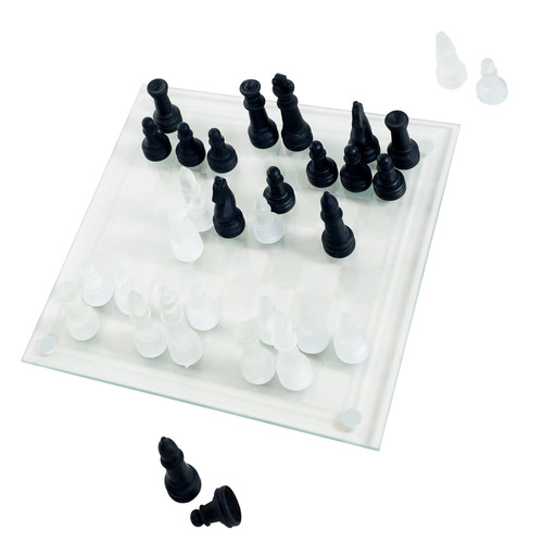 Trademark Global Elegant Glass Chess and Checker Board Set