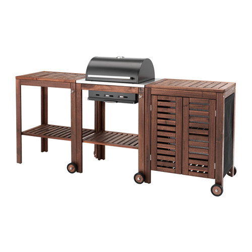 PPLAR / KLASEN Charcoal grill with cart & cabinet, brown stained