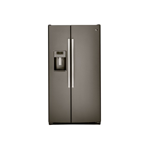 GSS25GMHES 36 Side-By-Side Refrigerator with 25.4 cu. ft. Total Capacity Integrated Shelf Support System Arctica Icemaker Adjustable Door Bins and Door Storage in Slate