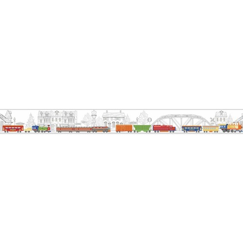 York Wallcoverings Growing Up Kids All Aboard! Removable Wallpaper Border
