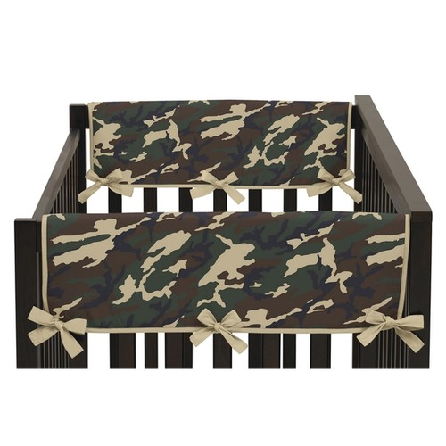 Sweet Jojo Designs Camo Collection Green Side Crib Rail Guard Covers (Set of 2)