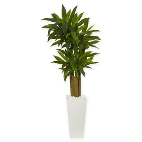 Nearly Natural Cornstalk Dracaena Artificial Plant in White Vase