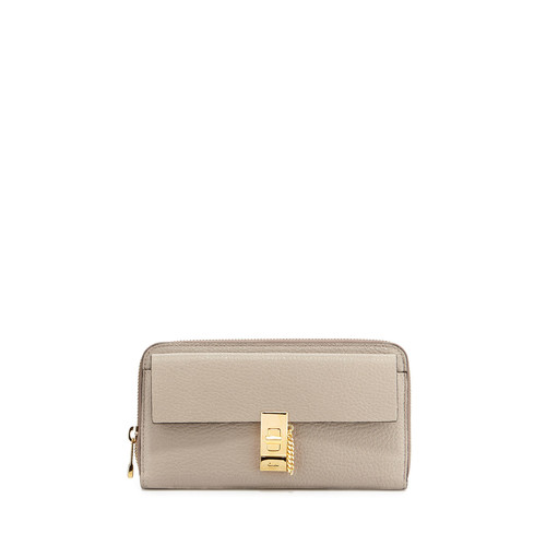 CHLOE Drew Leather Zip-Around Wallet, Gray