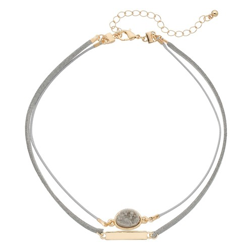 Simulated Drusy & Bar Double Strand Choker Necklace
