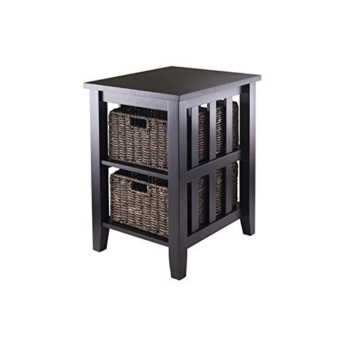 Winsome Wood Winsome Morris Side Table with 2 Foldable Baskets