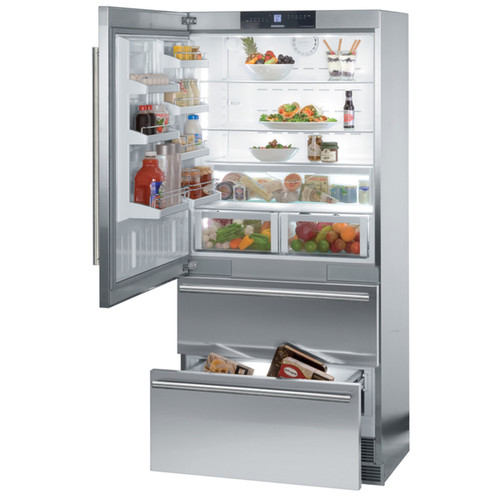 Liebherr CS 2061 NoFrost 36 inch Freestanding or Semi Built-in Refrigerator Freezer, Stainless Steel, Counter depth, Ice Maker
