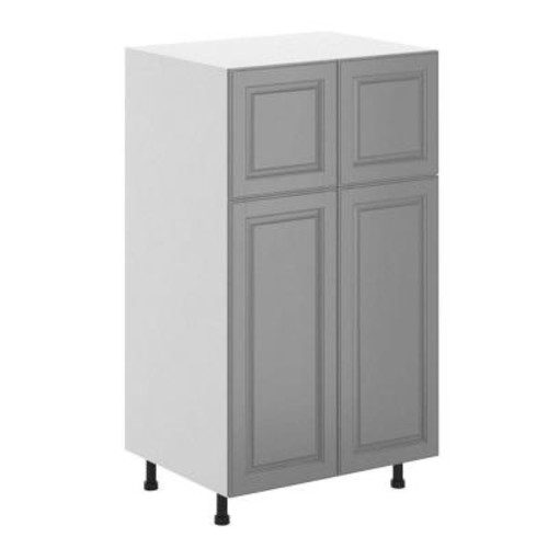 Fabritec Buckingham Ready to Assemble 30 x 49 x 24.5 in. Pantry/Utility Cabinet in White Melamine and Door in Gray