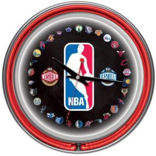 Trademark 14 in. NBA Logo 30 Team Chrome Double Ring Neon Wall Clock
