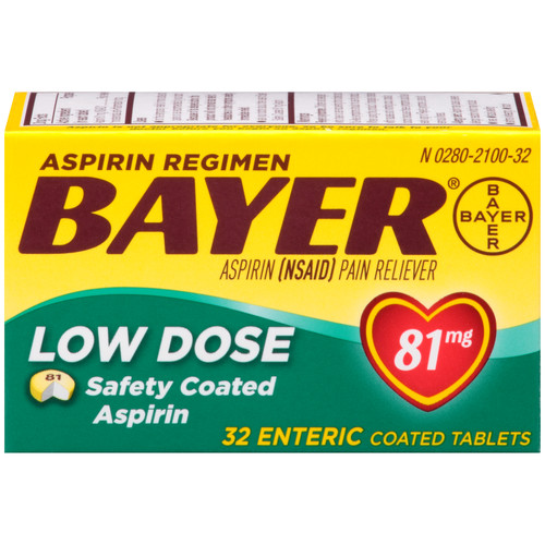 Bayer Aspirin, Low Dose, Safety Coated Baby, 81 mg, Tablets, 32 tablets