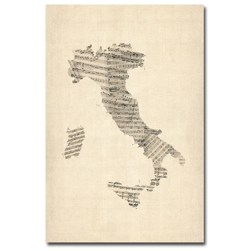 Trademark Global Michael Tompsett 'Italy - Old Sheet Music Map' Canvas Art [Overall Dimensions : 16x24]