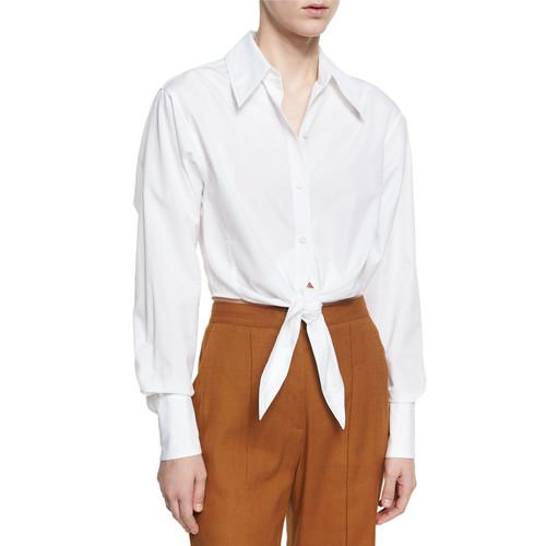 DIANE VON FURSTENBERG Collared Front-Tie Cotton Shirt, White
