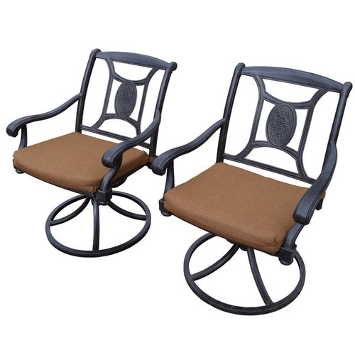 Cast Aluminum Swivel Rockers with Fade and Mildew Resistant Sunbrella Cushions (Set of 2) - Sunbrella Swivel Rockers with Subrella Cushions